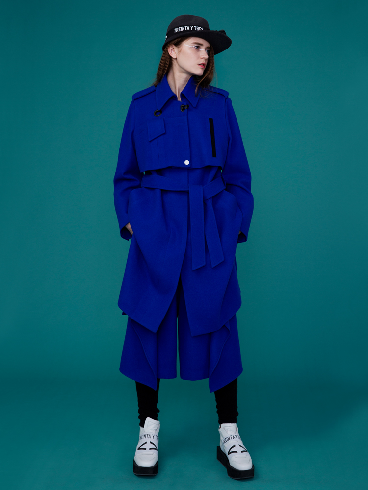 WOOL LAYERED COAT _ BLUE