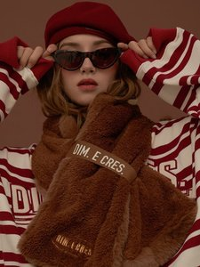 DIM. E CRES. REVERSIVLE FAKE FUR MUFFLER_BROWN