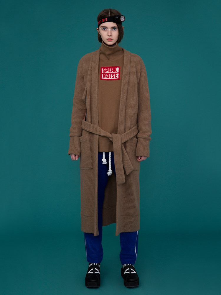 VELCRO POINT LONG CARDIGAN _ CAMEL
