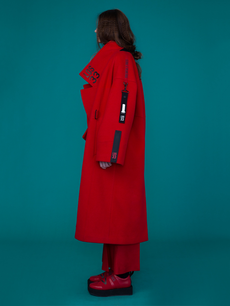 OVERFIT WOOL COAT _ RED